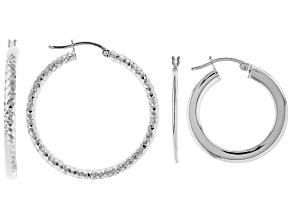 Pre-Owned Sterling Silver Set of 2 Hoop Earrings