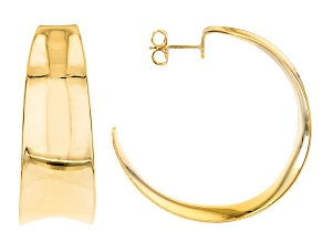 Pre-Owned 18K Yellow Gold Over Bronze Dome Statement J-Hoop Tube Earrings