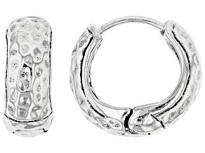 Pre-Owned Sterling Silver Hammered Huggie Hoop Earrings