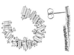 Pre-Owned White Cubic Zirconia Platinum Over Sterling Silver Earrings 6.30ctw