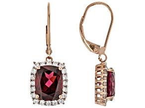Pre-Owned Grape Color Garnet 14k Rose Gold Earrings 6.17ctw