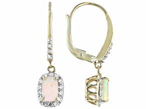 Pre-Owned Multi Color Ethiopian Opal 10k Yellow Gold Earrings 1.07ctw