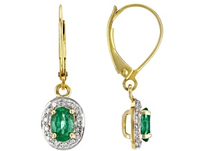 Pre-Owned Green Emerald 10k Yellow Gold Earrings .84ctw