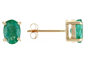 Pre-Owned Green Emerald 10k Yellow Gold Earrings 1.27ctw