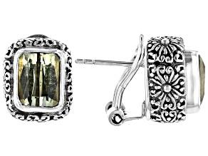 Pre-Owned Canary Spodumene Silver Stud Earrings 5.12ctw