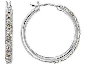 Pre-Owned White Diamond 10K White Gold Hoop Earrings 1.00ctw