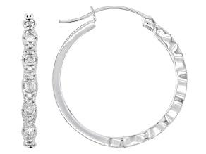 Pre-Owned White Diamond 10k White Gold Hoop Earrings 0.50ctw