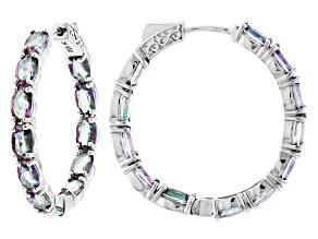 Pre-Owned Multi-color Quartz Rhodium Over Silver Inside/Outside Hoop Earrings 8.65ctw