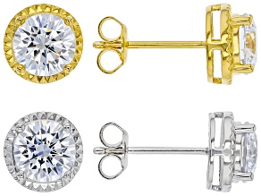 Pre-Owned White Cubic Zirconia Rhodium And 18K Yellow Gold Over Sterling Silver Earring Set of 2 9.2