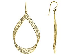 Pre-Owned 18K Yellow Gold Over Sterling Silver Filigree Earrings