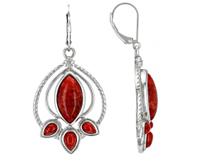 Pre-Owned Red Sponge Coral Rhodium Over Silver Dangle Earrings