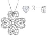 Pre-Owned White Cubic Zirconia Rhodium Over Sterling Pendant With Chain and Earrings 8.00ctw
