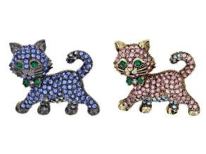 Pre-Owned Multicolor Crystal Antiqued Gold Tone Gunmetal Tone Cat Brooch Set