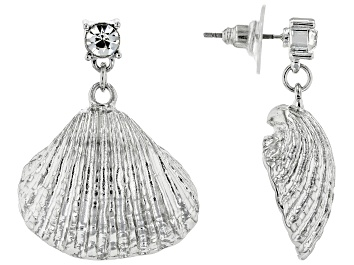Picture of Pre-Owned White Crystal Silver Tone Seashell Earrings