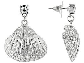 Pre-Owned White Crystal Silver Tone Seashell Earrings