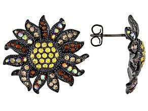 Pre-Owned Multi color Gunmetal Tone Sunflower Stud Earrings