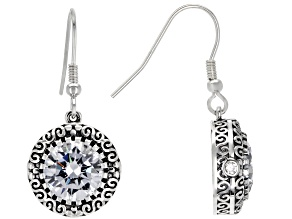 Pre-Owned White Cubic Zirconia Rhodium Over Sterling Silver Earrings 11.27CTW
