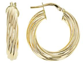Pre-Owned 14K Yellow Gold 4MM Twisted Hoop Earrings
