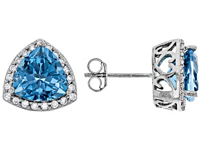 Pre-Owned London Blue Topaz Rhodium Over Silver Earrings 5.41ctw