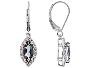 Pre-Owned Multicolor Mystic(R) Topaz Rhodium Over Sterling Silver Earrings 2.17ctw