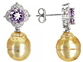 Pre-Owned Golden Cultured South Sea Pearl, Topaz, & Amethyst Rhodium Over Sterling Silver Earrings