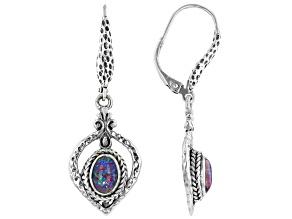 Pre-Owned Australian Opal Triplet Silver Dangle Earrings