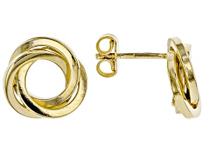 Pre-Owned Splendido Oro™ Divino  14K  Yellow Gold With Sterling Silver Core Crossover Circle Earring