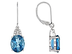Pre-Owned Blue Topaz Rhodium Over Silver Earrings 5.61ctw