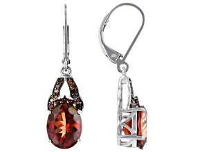 Pre-Owned Red Labradorite Rhodium Over Sterling Silver Earring 4.08ctw