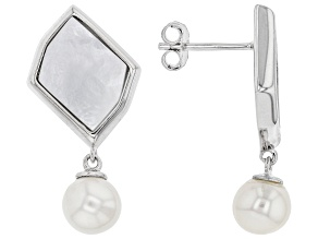 Pre-Owned White Cultured Freshwater Pearl & Mother-of-Pearl Rhodium Over Sterling Silver Earrings