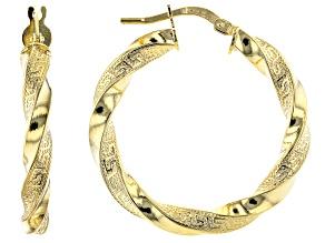 Pre-Owned 10K Yellow Gold 20MM Greek Torchon Tube Hoop Earrings