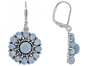 Pre-Owned Blue Opal Sterling Silver Earrings .20ctw