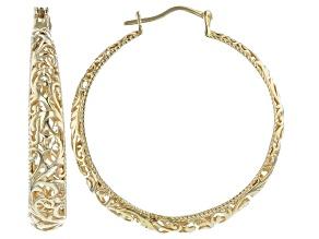 Pre-Owned 18K Gold Over Sterling Silver Graduated Scroll-work Hoop Earrings