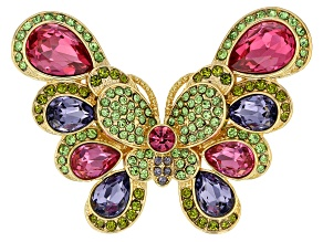 Pre-Owned  Multicolor Crystal Gold tone Butterfly Brooch