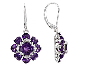 Pre-Owned Purple amethyst rhodium over sterling silver earrings 4.82ctw