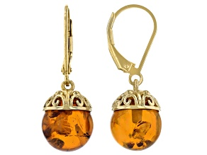 Pre-Owned Orange Amber 18k Yellow Gold Over Sterling Silver Earrings