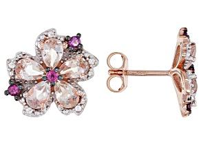 Pre-Owned Peach Morganite 18k Rose Gold Over Silver Earrings 2.29ctw