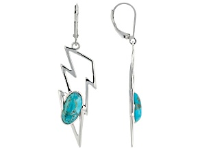 Pre-Owned Blue Turquoise Rhodium Over Silver Lightening Bolt Earrings