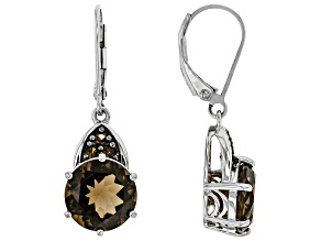 Pre-Owned Brown Smoky Quartz Rhodium Over Sterling Silver Earrings 5.71ctw