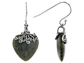 Pre-Owned Connemara Marble Sterling Silver Trinity Knot Heart Earrings
