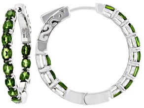 Pre-Owned Green Chrome Diopside Rhodium Over Silver Inside/Outside Hoop Earrings 3.64ctw