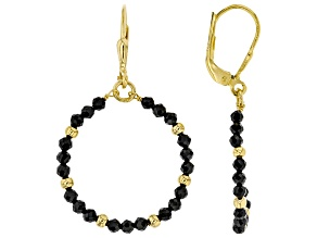 Pre-Owned Black spinel 18K yellow gold over sterling silver dangle earrings