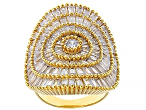Pre-Owned White Cubic Zirconia 18K Yellow Gold Over Sterling Silver Ring 9.55ctw