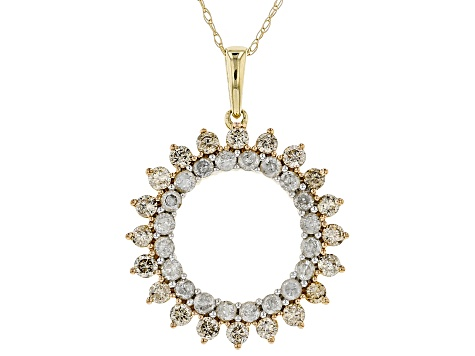 Pre-Owned Champagne and White Diamond 10k Yellow Gold Pendant 1.08ctw