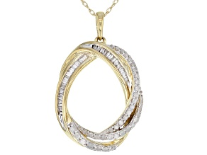 Pre-Owned White Diamond 10k Yellow Gold Pendant With Chain 0.37ctw