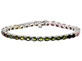 Pre-Owned Multi Color Tourmaline Rhodium Over Sterling Silver Bracelet 10.38ctw