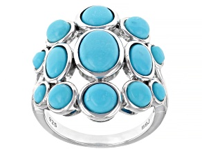 Pre-Owned Blue Sleeping Beauty Turquoise Rhodium Over Sterling Silver Ring