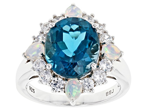 Pre-Owned London Blue Topaz Rhodium Over Silver Ring 6.43ctw