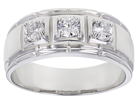 Pre-Owned White Cubic Zirconia Rhodium Over Sterling Silver Mens Ring 1.45ctw