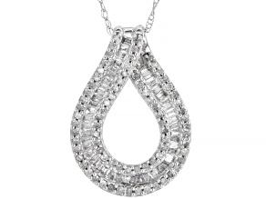 Pre-Owned White Diamond 10K White Gold Pendant With Chain 0.50ctw
